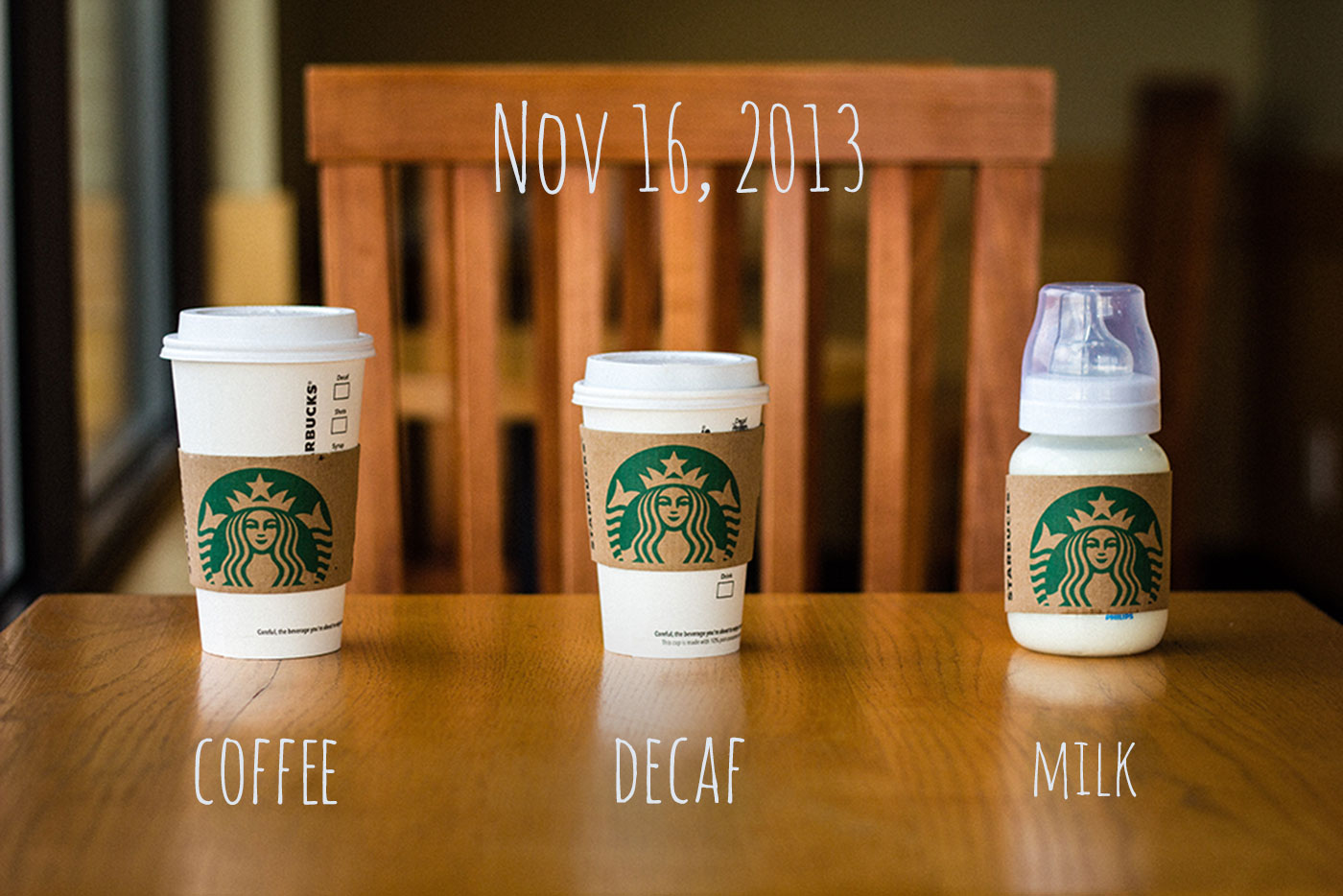 Coffee. Decaf. Milk. Coming Nov 16, 2013